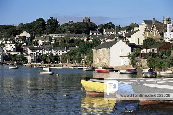 View across water from Noss Mayo to the village of Newton Ferrers  near Plymouth  Devon  England  United Kingdom  Europe