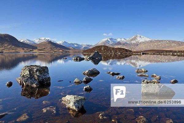 Europa  Berg  bedecken  Großbritannien  Argyll and Bute  Highlands  links  rechts  Schottland  Schnee