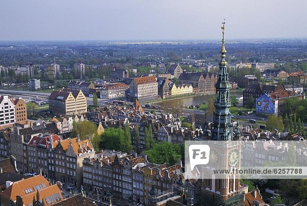 hoch oben Europa Großstadt Ansicht zeigen Danzig Polen