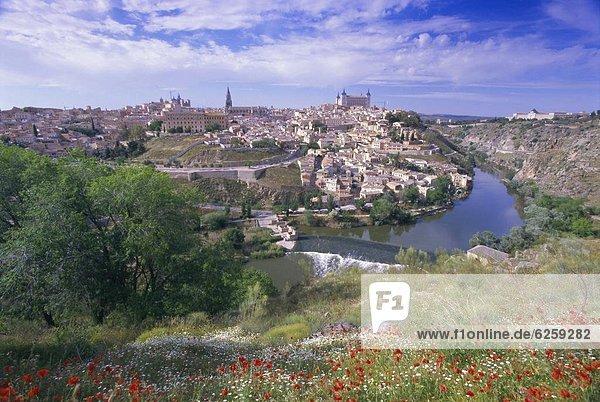 Europa Großstadt Fluss Ansicht Spanien Toledo