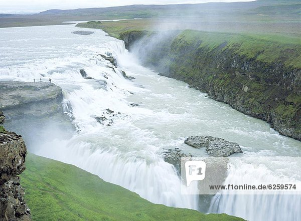 Gullfoss  or Golden Waterfall  this double waterfall was saved from development for hydroelectric power in 1907  Gullfoss  Iceland