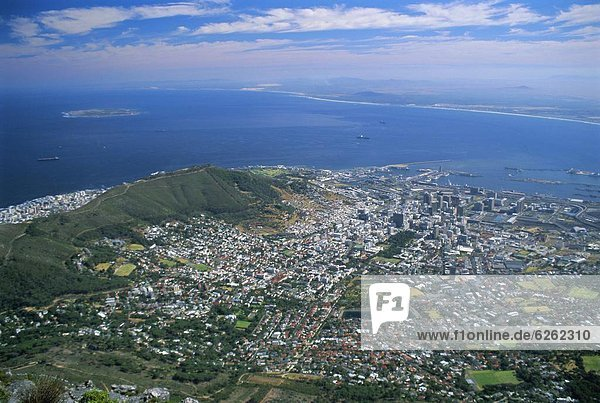 City viewed from Table Mountain  Cape Town  Cape Province  South Africa  Africa