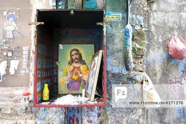 Wand Straße Bombay Asien Christ Indien Schrein