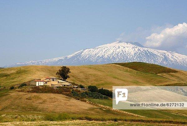 Europa Landschaft Hintergrund Berg Enna Italien Sizilien