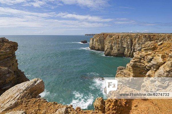 Europa  Ozean  Steilküste  Atlantischer Ozean  Atlantik  Algarve  Portugal  Sagres