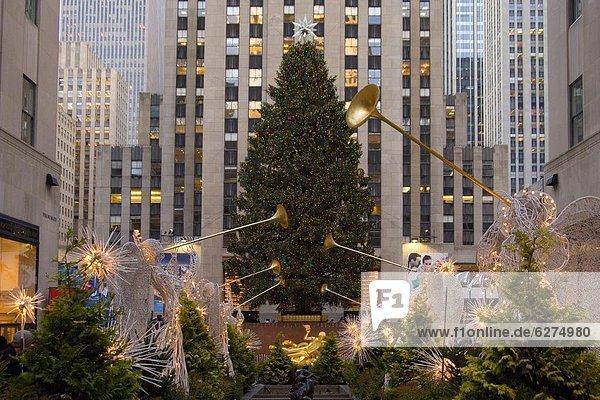 Vereinigte Staaten von Amerika  USA  Einkaufszentrum  New York City  Baum  Weihnachten  Nordamerika