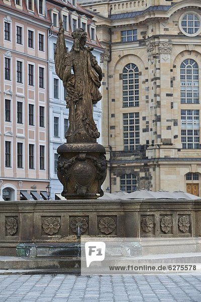 Statue in a fountain in Dresden  Saxony  Germany  Europe