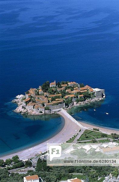 Europa  über  Insel  Ansicht  Sandbank  Luftbild  Fernsehantenne  Montenegro