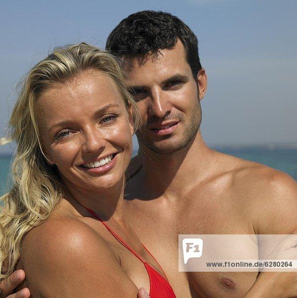 Couple on beach  close-up