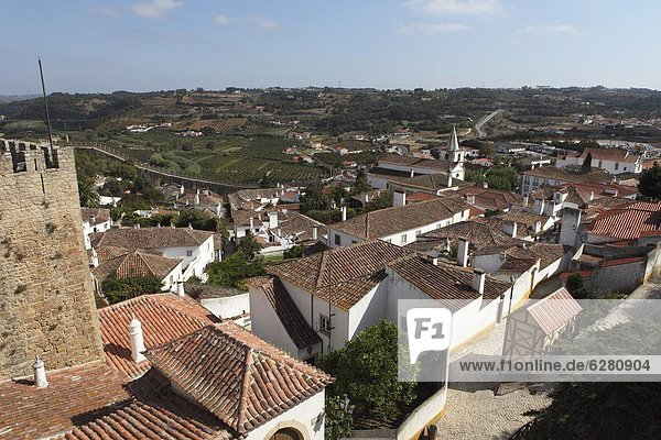 Rooftops in the medieval walled town known as The Wedding City  Obidos  Estremadura  Portugal  Europe