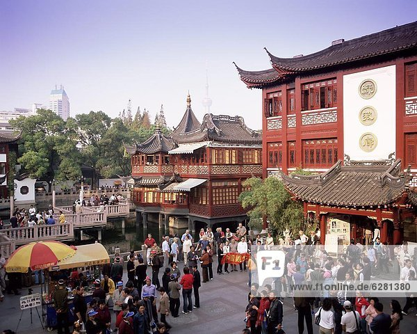 Außenaufnahme Mensch Menschen Wohnhaus China Asien Shanghai Tee