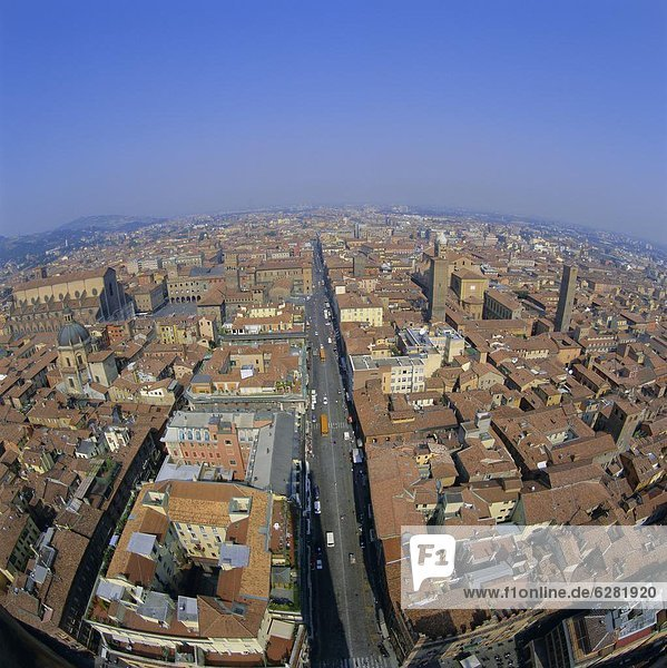 Aerial view of the city  Bologna  Emilia-Romagna  Italy  Europe