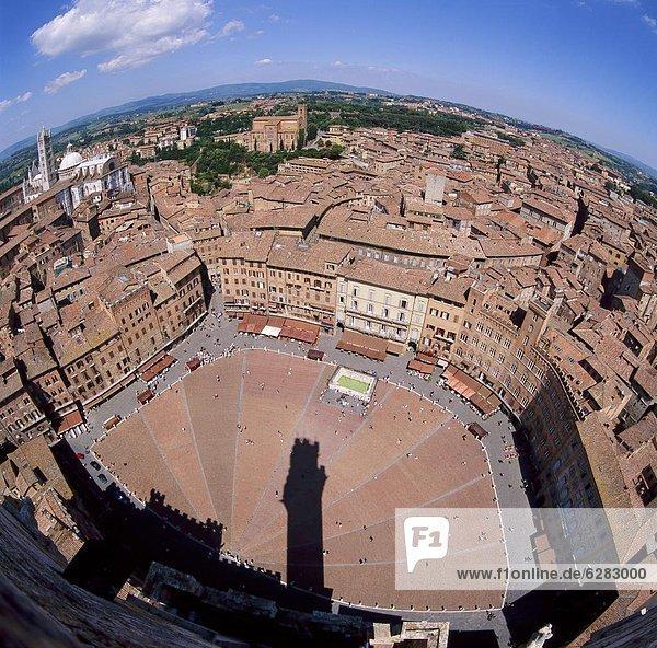Stadt  Ansicht  Platz  Luftbild  Fernsehantenne  Italien  Siena  Toskana