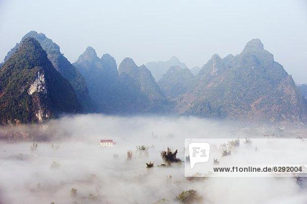 Morgen Dunst Tal bedecken China Asien