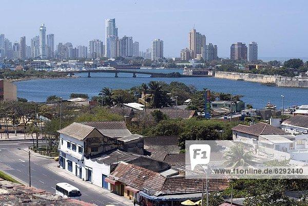 View from Fort San Felipe towards Boca Grande  Cartagena  Colombia  South America