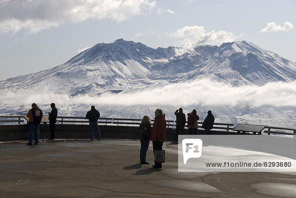 Mount St. Helens  with steam plume from rising dome within crater  seen from Johnston Ridge Visitor Centre  Washington state  United States of America  North America