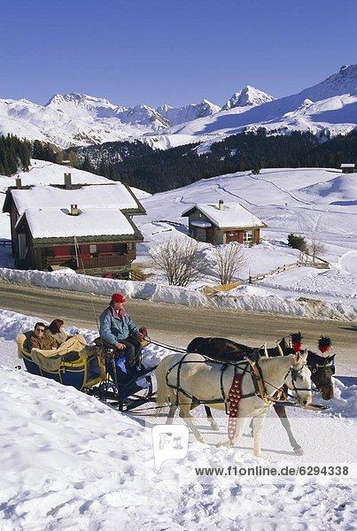 Europa  Urlaub  Ski  Zeichnung  Schlitten  Westalpen  Arosa  Schweiz