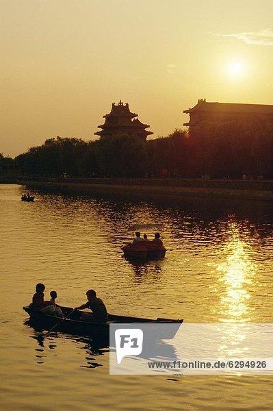 nahe  Großstadt  See  Boot  verboten  Rudern  Peking  Hauptstadt  China