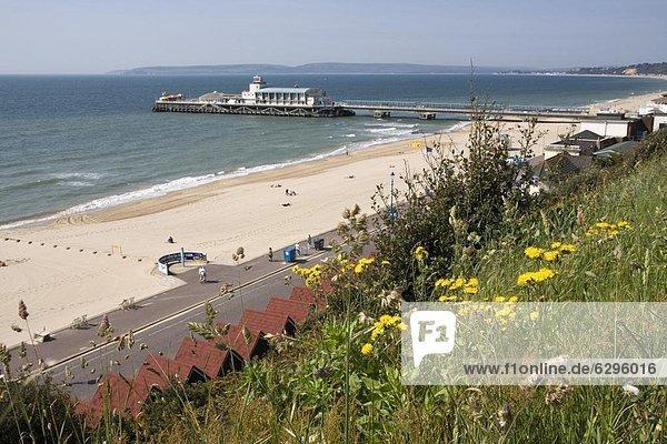 Bournemouth Pier and beach  Poole Bay  Dorset  England  United Kingdom  Europe