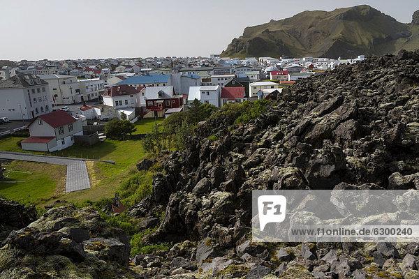 Eldfell lava field  town of Vestmannaeyjar  Heimaey Island  Westman Islands  Su_urland or South Iceland  Iceland  Europe