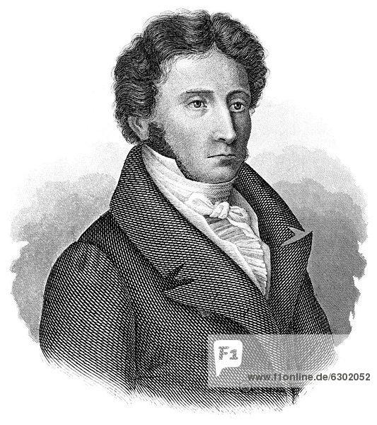 Historische Zeichnung aus dem 19. Jahrhundert  Portrait von Karl Wenzeslaus Rodeckher von Rotteck  1775 - 1840  ein deutscher Staatswissenschaftler  Historiker und liberaler Politiker