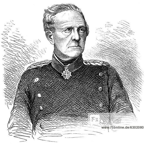 Historische Zeichnung aus dem 19. Jahrhundert  Portrait von Helmuth Karl Bernhard Graf von Moltke  1800 - 1891  ein preußischer Generalfeldmarschall