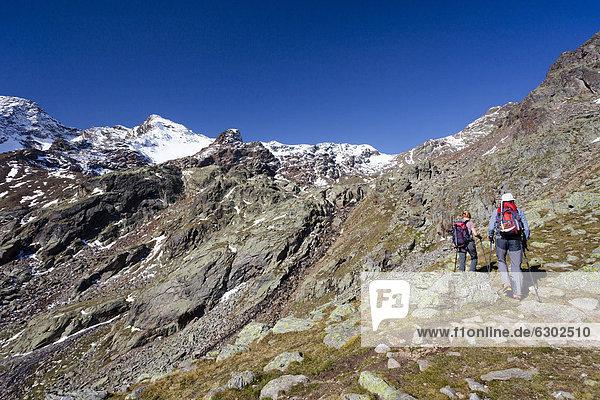 Wanderer beim Aufstieg zur hinteren Eggenspitz im Ultental oberhalb des Grünsees  hinten die Weißbrunnspitz  Südtirol  Italien  Europa Wanderer beim Aufstieg zur hinteren Eggenspitz im Ultental oberhalb des Grünsees, hinten die Weißbrunnspitz, Südtirol, Italien, Europa
