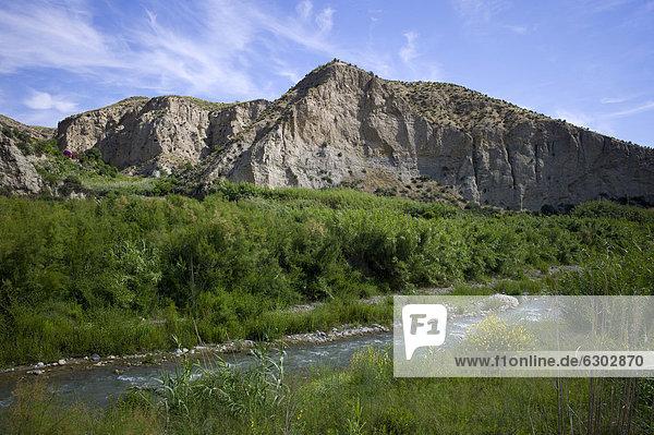 Landschaft am Rio Andarax unweit der Stadt Almeria  Andalusien  Spanien  Europa