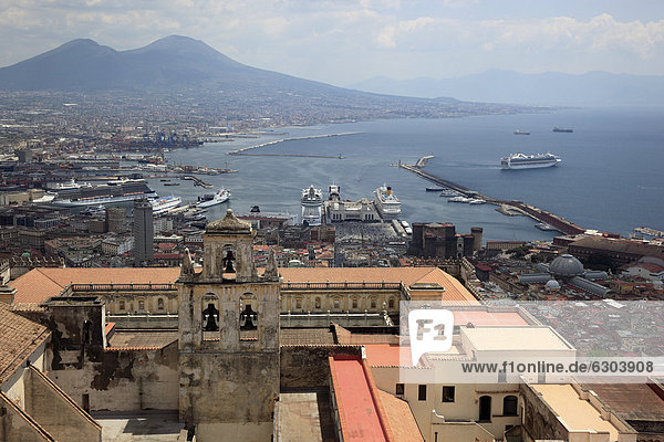 View of Naples across the Certosa di San Martino monastery  as seen from Sant' Elmo castle  Naples  Campania  Italy  Europe