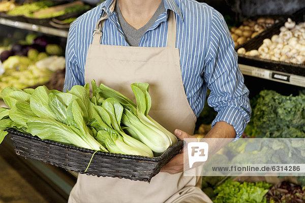 Mann  Mittlerer Ausschnitt  Korb  halten  Pak Choi  Senfkohl  Supermarkt