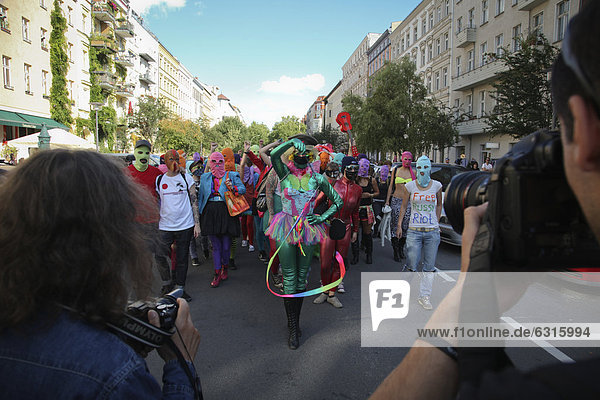 'Free Pussy riot protest flashmob shoot for a music video  joint protest song by the Canadian electro-clash singer ''Peaches'' and the U.S. American artist ''Simonne Jones'' for the imprisoned members of the feminist Russian punk-rock collective ''Pussy Riot''  Prenzlauer Berg  Berlin  Germany  Europe'