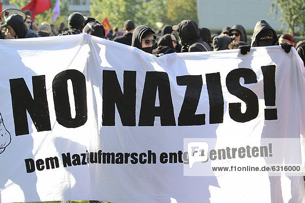 Protest demonstration against a neo-Nazi march in Dortmund  North Rhine-Westphalia  Germany  Europe