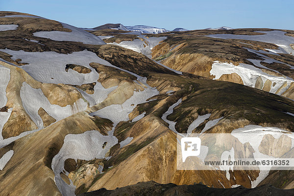 View from the Bl·hn_kur volcano to the snow-capped rhyolite mountains  Landmannalaugar  Fjallabak Nature Reserve  Highlands  Iceland  Europe