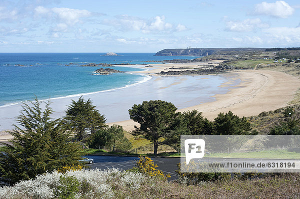 Coastline with a sandy beach  camping site in the dunes Cap FrÈhel at back  FrÈhel  DÈpartement CÙtes d'Armor  Brittany  France  Europe