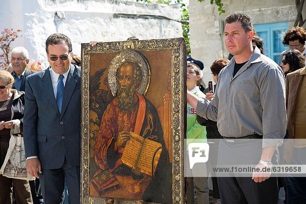europe  greece  dodecanese  patmos island  chora  orthodox easter time  procession of the icons  icon of st john