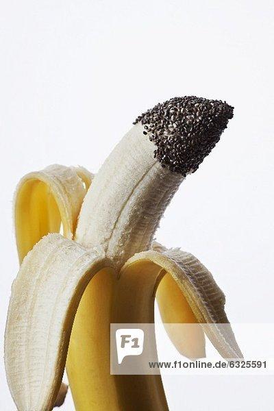 halb gesch lte banane mit chia samen lizenzfreies bild bildagentur f1online 6325591. Black Bedroom Furniture Sets. Home Design Ideas
