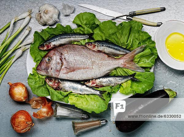 Roher Fisch und Gemüse