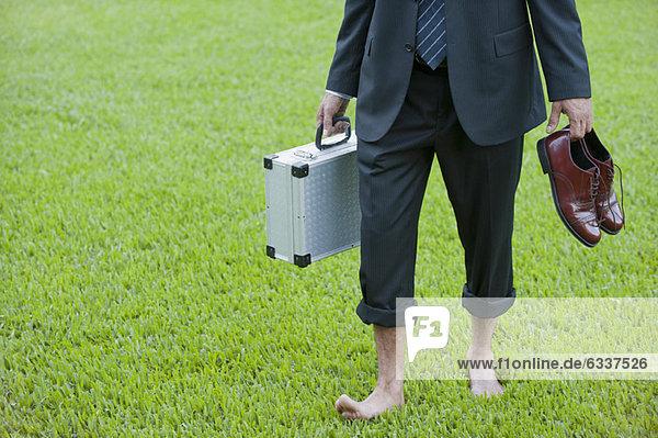 Geschäftsmann  tragen  gehen  Schuh  barfüßig  Gras Geschäftsmann ,tragen ,gehen ,Schuh ,barfüßig ,Gras