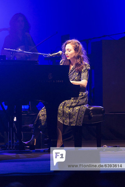 The Russian-American singer and pianist Regina Spektor live in the concert hall of the KKL at the Blue Balls Festival in Lucerne  Switzerland  Europe