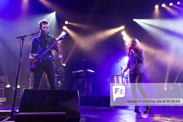 'The Anglo-American rock band ''The Kills'' performing live at Luzernersaal of the KKL during the Blue Balls Festival  Lucerne  Switzerland  Europe'