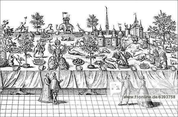 Historische Zeichnung  höfische Prunktafel in England um 1600