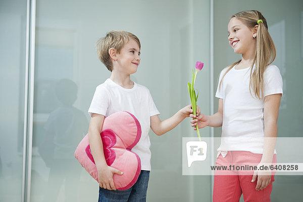 Form Formen geben Blume Junge - Person klein Kopfkissen herzförmig Herz Mädchen