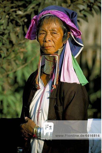 Eine Padaung Frau mit den traditionellen Halsringen  Myanmar (Burma)