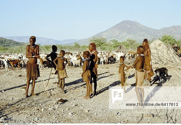 Einheimische Himba Stammesmitglieder traditioneller Kleidungbei einer Viehherde in Namibia