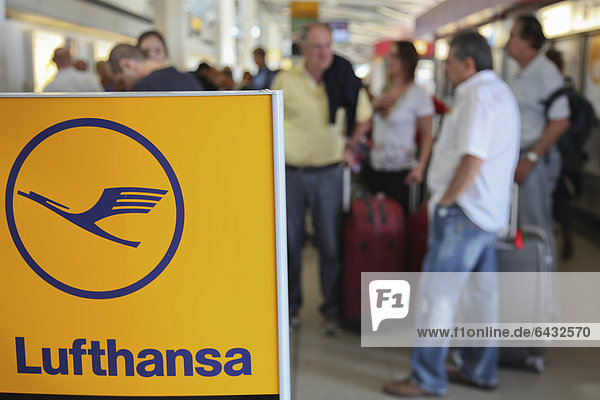 Passengers waiting at the airport  delays and canceled flights due to the strike of the Lufthansa flight attendants  Berlin Tegel Airport  Berlin  Germany  Europe