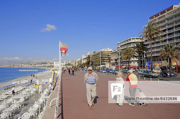 Beach promenade  Promenade des Anglais  Nice  Alpes-Maritimes department  Provence-Alpes-Cote d'Azur region  Southern France  France  Europe  PublicGround