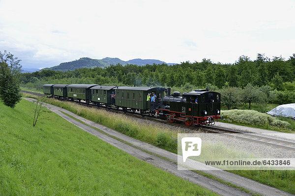 Historischer Dampfzug  Achertal-Bahn  aus dem Jahr 1928  der im Sommer alle zwei Wochen zwischen Ottenhöfen und Achern verkehrt  bei Ottenhöfen  Schwarzwald  Baden-Württemberg  Deutschland  Europa
