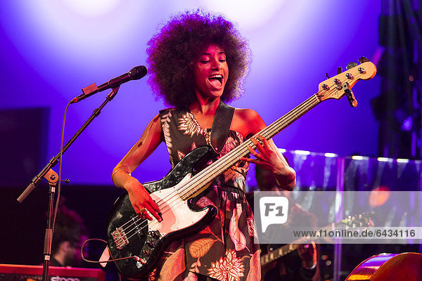 The American jazz musician and Grammy Award winner Esperanza Spalding live in the Luzernersaal of the KKL  Blue Balls Festival in Lucerne  Switzerland  Europe