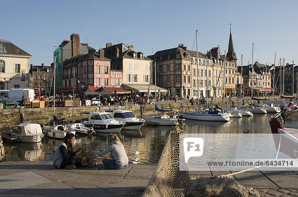 Harbour of Honfleur with row of houses at the quay  Normandy  France  Europe