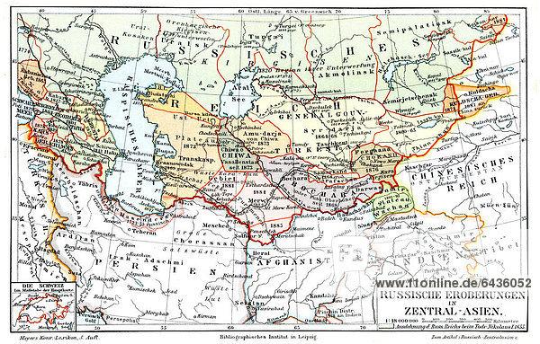 Karte Russland Asien.Karte Russische Eroberungen In Zentralasien 1897 Abbildung